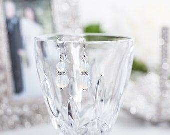 "Pale Blue ""Opal"" Glass Earrings with Crystals -Wedding Earrings - Prom Earrings - Christmas Gift - Bridesmaid Earrings"