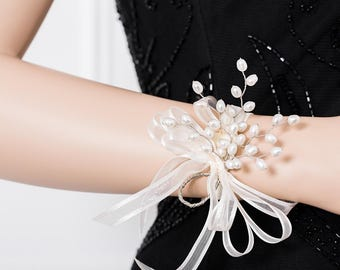 Genuine Freshwater Pearl Wedding Corsage - Bridesmaid Corsage - White Corsage - Prom Corsage -  - Wedding Wrist Corsage - Prom Corsage