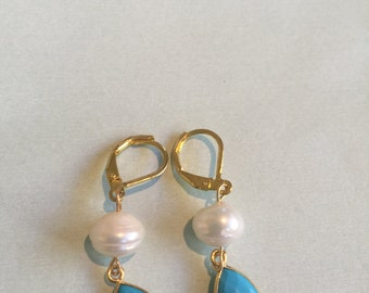 Gold with Pearl and Turquoise Earrings