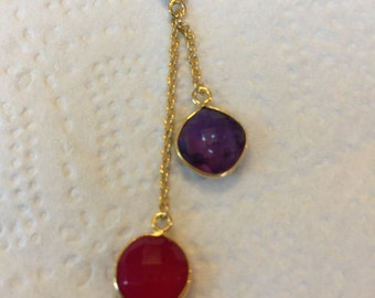 Gold Wrapped Amethyst and Red Chalcedony Gemstone Necklace