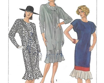 Simplicity 6791 Women's 80s Easy to Sew Flared Flounce Dress Sewing Pattern Size 12 to 16 Bust 34 to 38