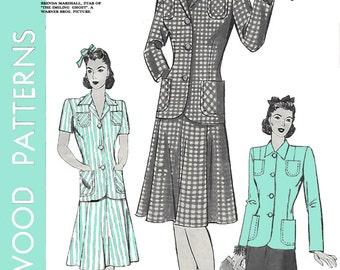 Hollywood 721 Womens 40s Suit Jacket Skirt Two Piece Dress Sewing Pattern Bust 36