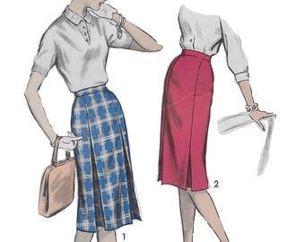 Advance 8963 Women's 50s Inset Pleated Slim Skirt Sewing Pattern Waist 34 Hip 44