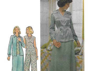 Butterick 4012 Misses Semi Fitted Jacket and Top, Fitted and Flared Skirt and Pants Sewing Pattern Size 14 Bust 36