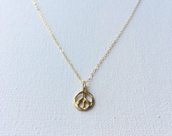 Peace Sign Necklace, Gold Peace Sign Necklace, Gold Peace Sign Charm, Tiny Peace Sign Charm, Layering Necklace, Yoga Jewelry, Indira Boheme