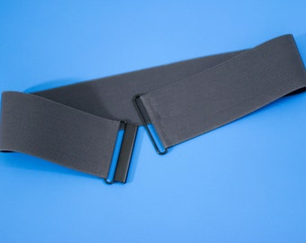 "3"" Charcoal grey elastic waist belt for women in plus and regular sizes"