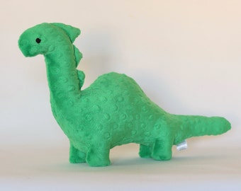 Stuffed Dinosaur Toy - Green Minky Plush Dinosaur - Baby Shower Gift - Nursery Decor - Stuffed Animal - Dino Toy -  Kids Christmas Gift
