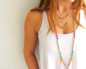 Long gemstones necklace, Boho necklace, Multicolor necklace, Colorful necklace, Long Boho necklace, Multi stone necklace, Long gem necklace