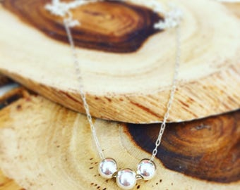 Silver bead necklace, Silver necklace, Silver ball Necklace, Minimalist necklace, Tiny silver necklace, Dainty silver necklace, Gift to wife