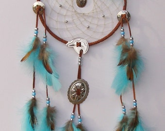 Bear Concho Brown and Turquoise Dream Catcher