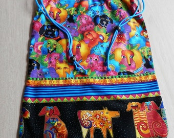 Drawstring Bag Cotton  Handmade Lined multicolor Dog Design