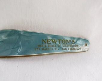 Vintage 1940s-50s Celluloid Aqua Pearlized Shoe Horn Advertisment