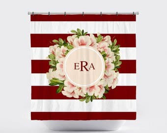 Shower Curtain Personalized Monogrammed Farmhouse Chic, Country Chic, Stripes, Vintage Floral, Vintage Flowers Six