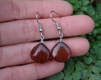 Carnelian Agate Teardrops . Earrings