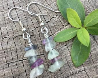 Rainbow Fluorite Gemstone Chips . Earrings