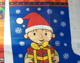 Craft Supplies, Sewing Supplies, Christmas Stocking Screenprint, Bob the Builder, and Wendy Stocking Panel, Two Christmas Stocking
