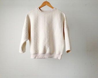 vintage CREAM mid 90s boxy sweatshirt short sleeve top oxford zig zag pattern top