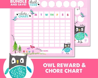 Kids Reward and Chore Chart BUNDLE  - Owl - Behavior Chart - Potty Training - Watercolor - Instant Download