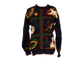 Vintage 12 Days of Christmas Sweater Size Small / Medium