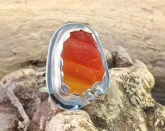 Genuine SEA GLASS Ring Large Amberina Fine Silver and Argentium Silver Jewelry US Size7 1/2