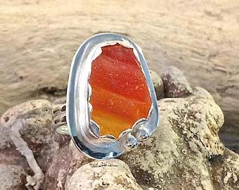 Genuine SEA GLASS RING Amberina Fine Silver and Argentium Silver Jewelry 7 1/2