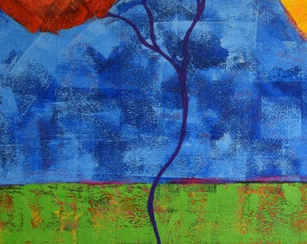 Red Tree Painting...Landscape Art..Acrylic Painting Landscape...Primary Colors
