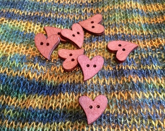Set of 8 Heart Shaped Wooden Buttons, 1 inch, 25 mm, Great for Knits, Sewing, Crochet, Decorative, Natural Finish, Brown, 2 Holes, Cute