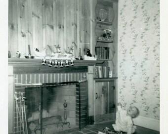 "Vintage Photo ""Waiting for Santa"" Snapshot Antique Photo Old Black & White Photograph Found Paper Ephemera Vernacular - 14"
