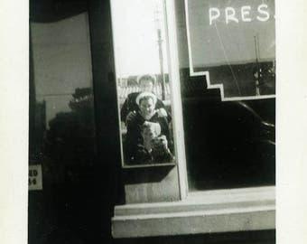"Vintage Photo ""The Ultimate Navy Selfie"" Snapshot Antique Photo Old Black & White Photograph Found Paper Ephemera Vernacular - 134"