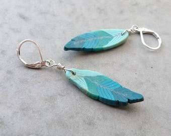 Feather earrings, turquoise 925 Sterling Silver earrings, Southwestern Earrings, handmade polymer Clay feathers, Millefiori boho chic gift