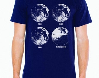 Star Wars Death Star Moon shirt- men's navy- S-XXL- worldwide shipping