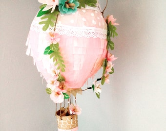Hot air balloon pinata with flowers