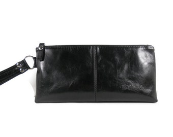 Black Leather Clutch Bag, Leather Handbag, Clutch Purse, Leather Wristlet, Evening Bag, Small Leather Purse, Clutch Wallet, Made in USA