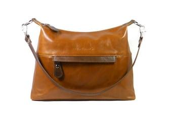 Leather Hobo Bag, Cognac Leather Bag, Handmade Leather Bag, Leather Crossbody Bag, Tan Leather Handbag, Leather Crossbody Purse, Made in USA