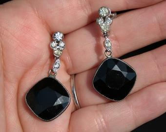 Vintage Art Deco French Jet Black Glass Rhinestone Earrings Screw Back 1930s