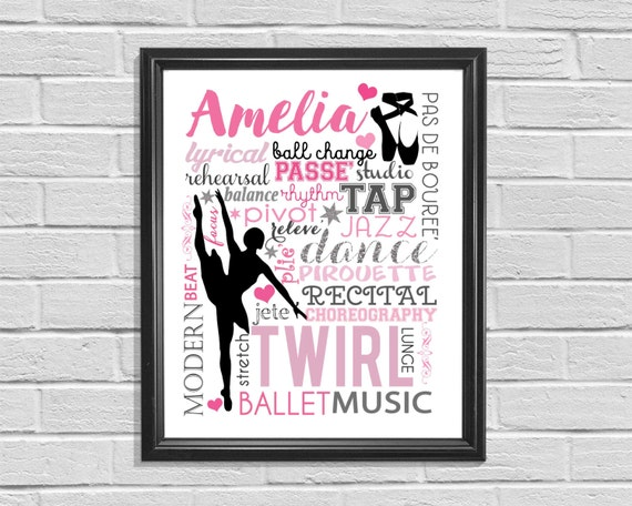 Printable Dance Poster, Cheer Print, Subway Art, Digital Wall Print, Ballet Sign