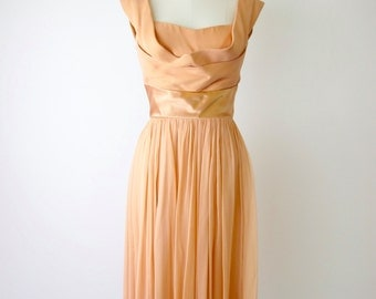 1950s Peach Silk Chiffon Cocktail Dress