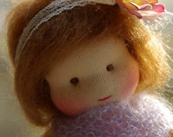 Luca Natural Fibers Doll Waldorf Inspired Doll by Atelier Lavendel Pocket Doll Cuddle Doll 7in OOAK doll soft toy ECO friendly