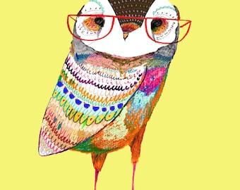 Stylish Owl. Illustration Art Print, kids art, nursery decor, owl art.