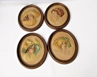 Vintage Chalkware Plaques, Gibson Girls, Chalk Wall Art, Plaster Wall Decor, Signed Art, Set of 4