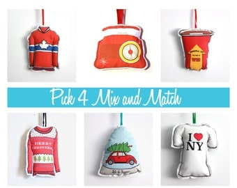 Ornament set: Christmas ornaments-Mix and match PICK 4