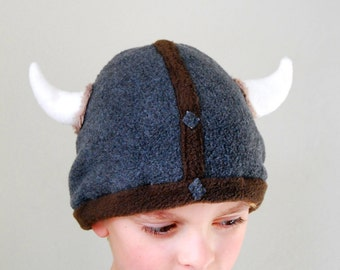 Viking Helmet Winter Beanie with Horns