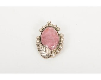 Vintage Rhodochrosite and Mexican Sterling silver Southwestern style brooch pendant