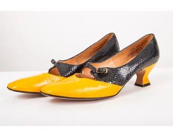 Vintage Joseph Larose / 1960s Mod kitten heels / Leather snakeskin color black heels / New old stock 8
