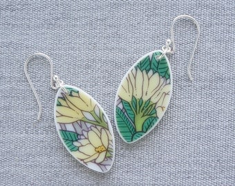 Frond Bloom Earrings Broken Recycled China Jewelry Material and Movement