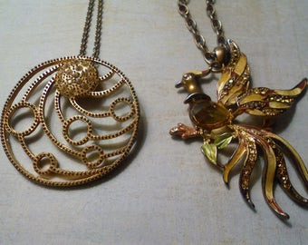 Pair Fantasy Pendant Necklaces ~ Bedazzled Peacock and Bejeweled Circles