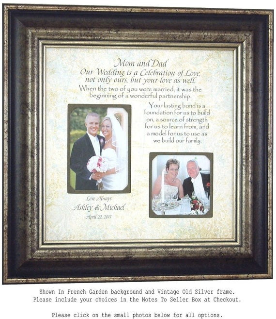 Parents Wedding Gift, MOTHER of the BRIDE Gift, Parents Thank You, Personalized Picture Frames, wedding sign, bridal shower, 16 X 16