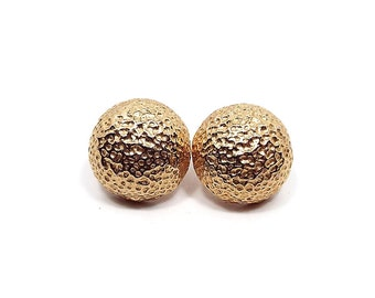 Vintage Clip On Earrings Bumpy Textured Gold Tone Round Metal Retro Mod Jewelry 1970s 70s