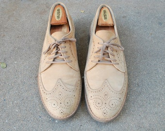 Vintage Mens 10.5 RocSports by Rockport Nubuck Leather Lace up Wingtips Oxfords Brogues Classic Dress Shoes Preppy Hipster Wedding Spring