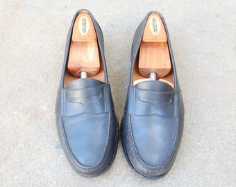 Vintage Mens 10.5d Cole Haan City Black Genuine Leather Slip On Penny Loafers Oxfords Wedding Suit Dress Shoes Hipster Classic Boat Shoes